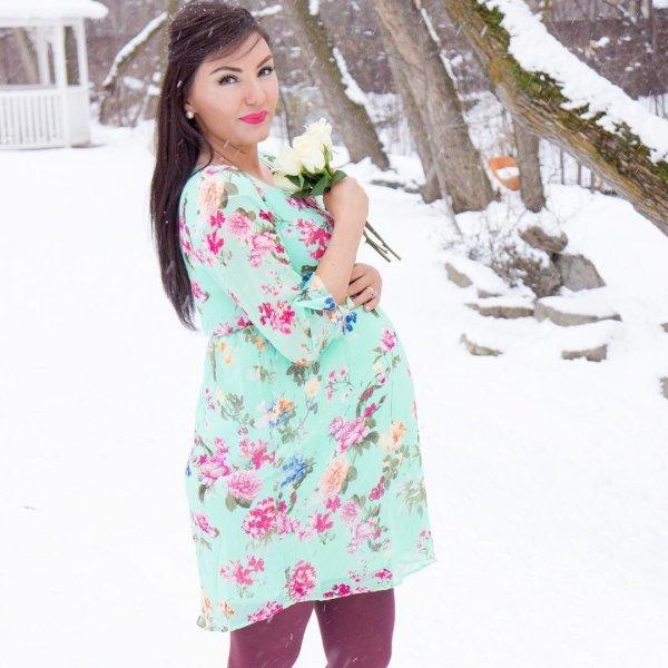 Mint-Green-Floral-Chiffon-Dress