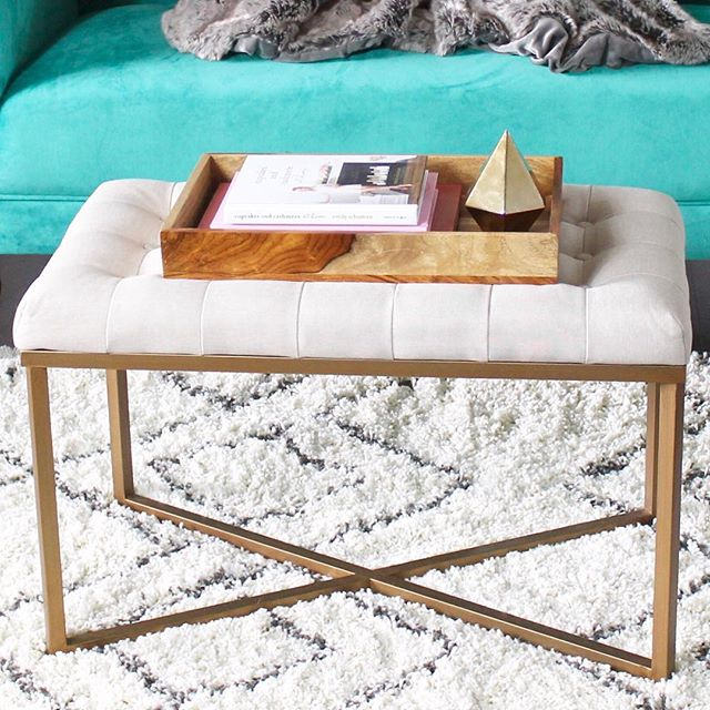 Rectangle Ottoman Velvet Tufted Cushion And Gold Metal X