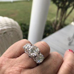6a03e45aa Ha Peach's image of Moissanite And Blue Sapphire Platineve Ring 8.14ctw ...