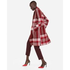 Shop Plaid One Button Car Coat Red Women's L and more