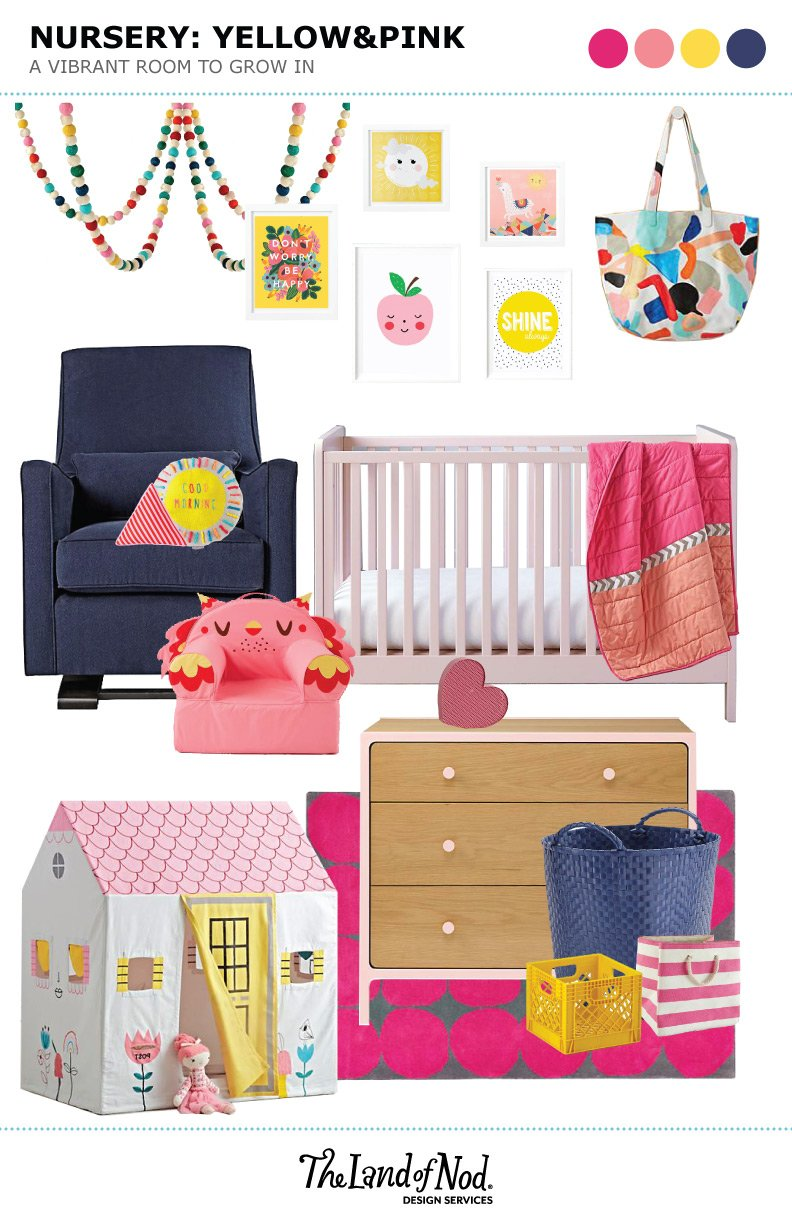 Bold Yellow and Pink Nursery