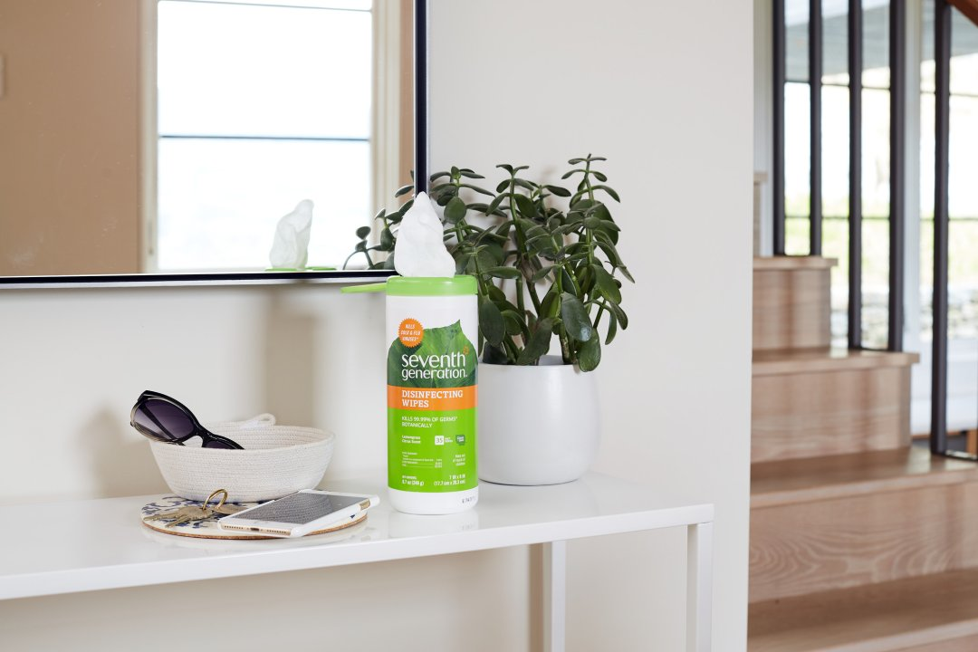 disinfectant wipes on table in house entryway