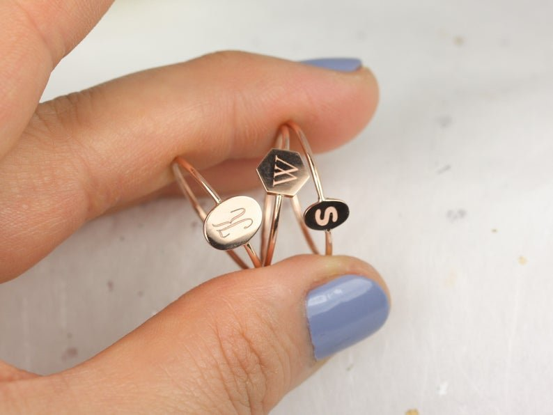 monogramed ring stack with 3 different font styles
