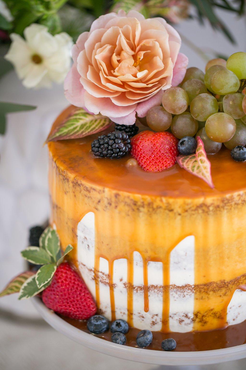 083b637fced Carmel glazed wedding cake for spring wedding