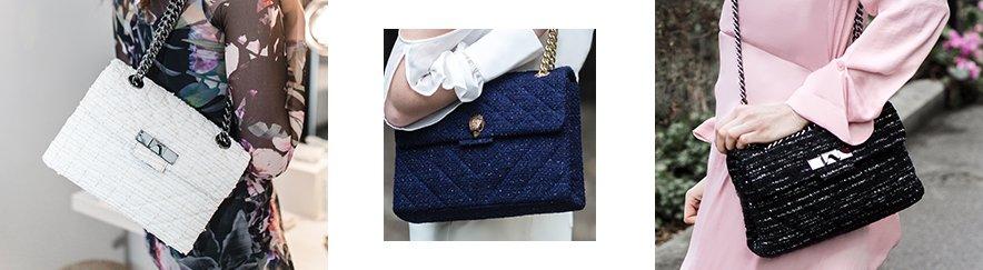 Shop Kurt Geiger London Tweed Kensington Bag