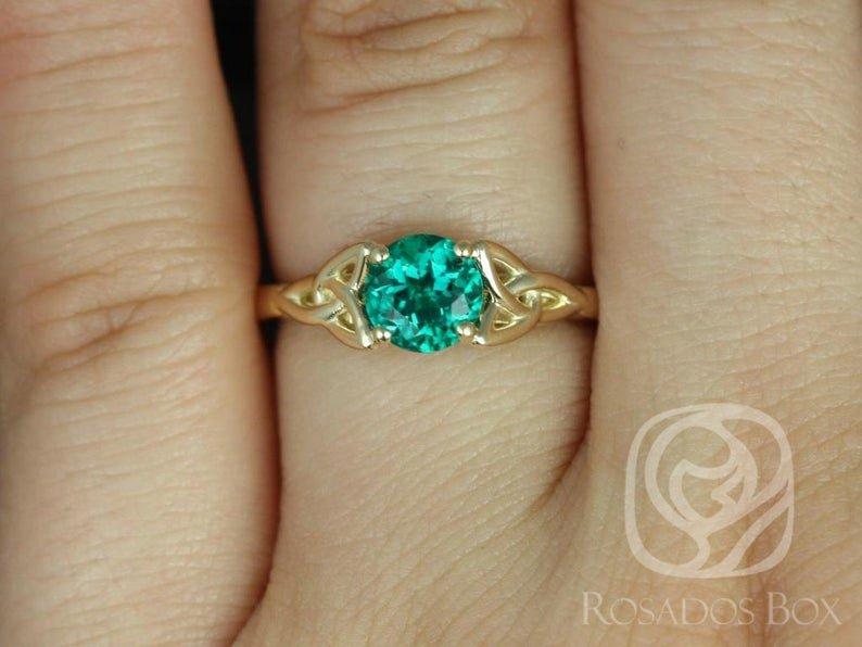 Circular Emerald Teagan Ring on Hand