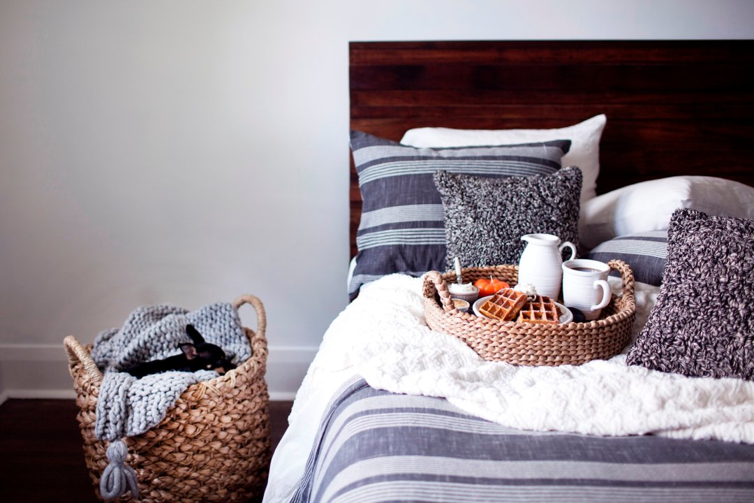 Bed with breakfast next to basket on floor with dog cuddled in blanket