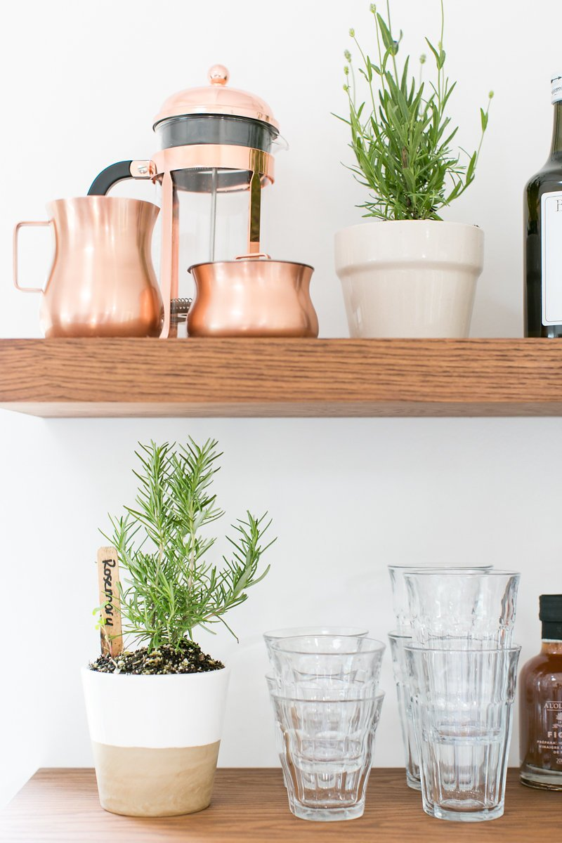 potted herbs and copper french press on wooden wall shelf
