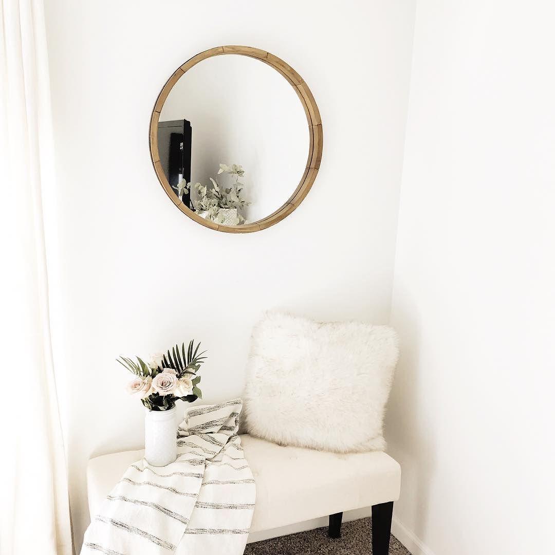 Round Decorative Wall Mirror Wood Barrel Frame Threshold