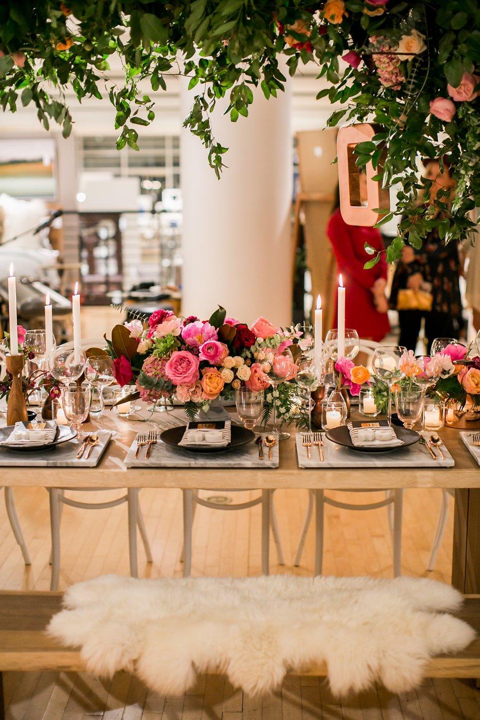 Valentine's Day table under floral arrangement