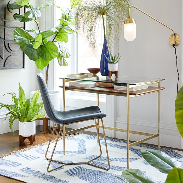 inspiration office furniture minimalist curated image with midcentury art display mini desk slope leather dining chair home office inspiration west elm