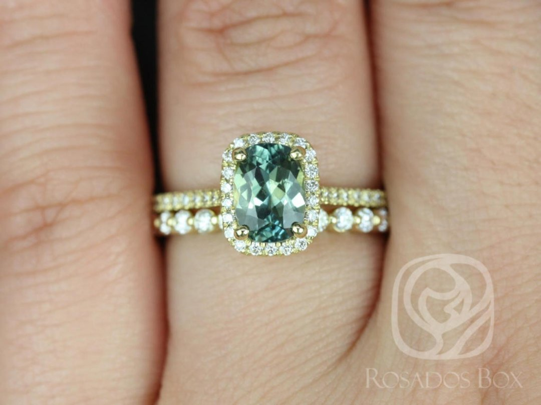 Teal Green Carrie Oval Sapphire Ring on Hand