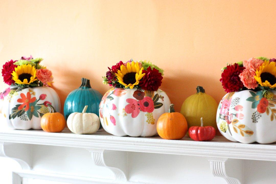 Diy Floral Pumpkin Vases The Pretty Life Girls