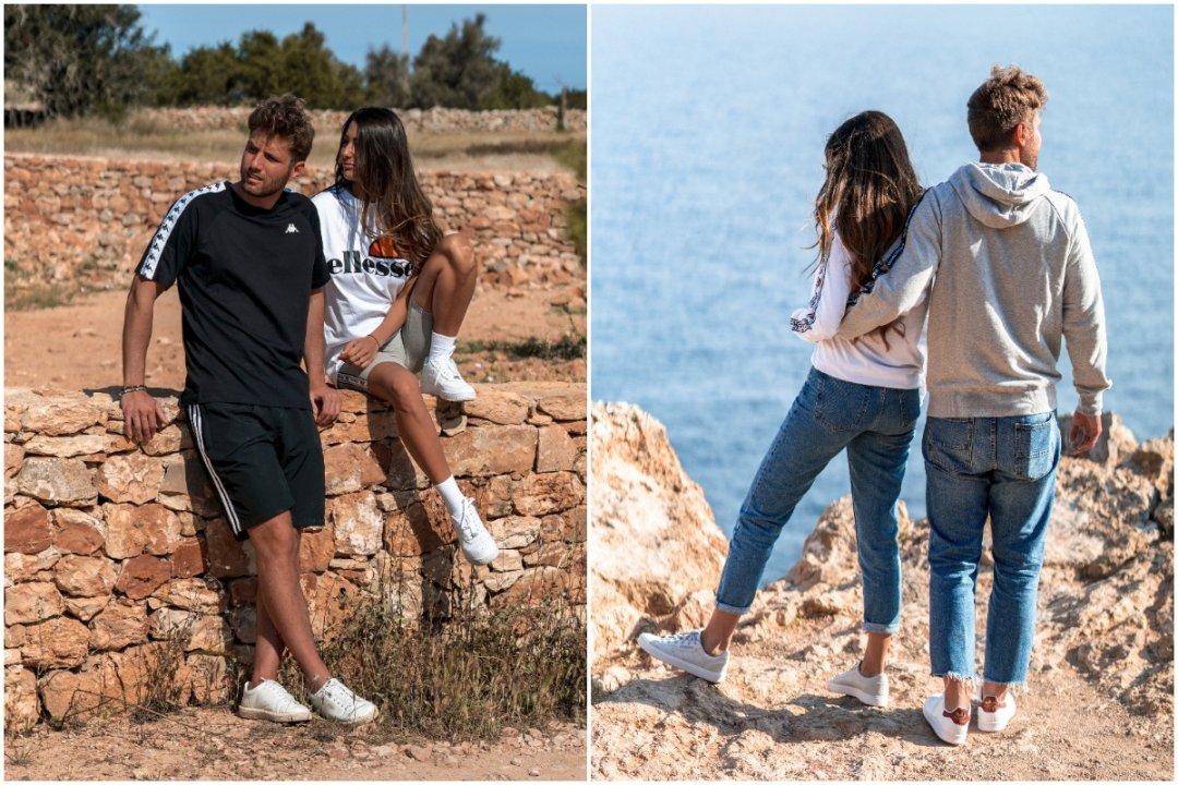 Completi e outfit per le vacanze di Davide Chiaro e Beatrice Crema