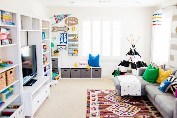 A modern take on a colorful playroom honest to nod Land of nod playroom ideas
