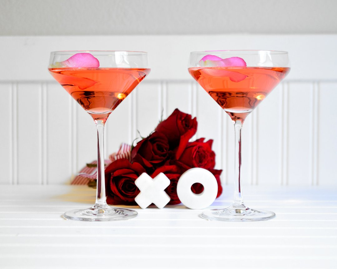 Pink Valentine's Day cocktail with marble X and O