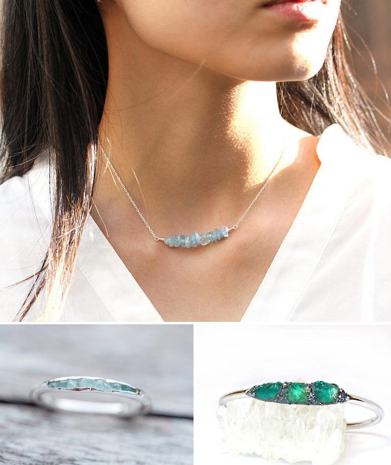 Shop Aquamarine necklace from Pearlberry, $36.50, Raw aquamarine bracelet from Lea Spirit, $70, Aquamarine ring from Gardens of the Sun, $99 and more