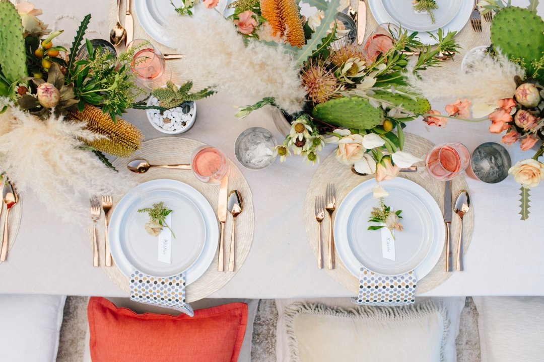 Bird's eye view of two place settings at table