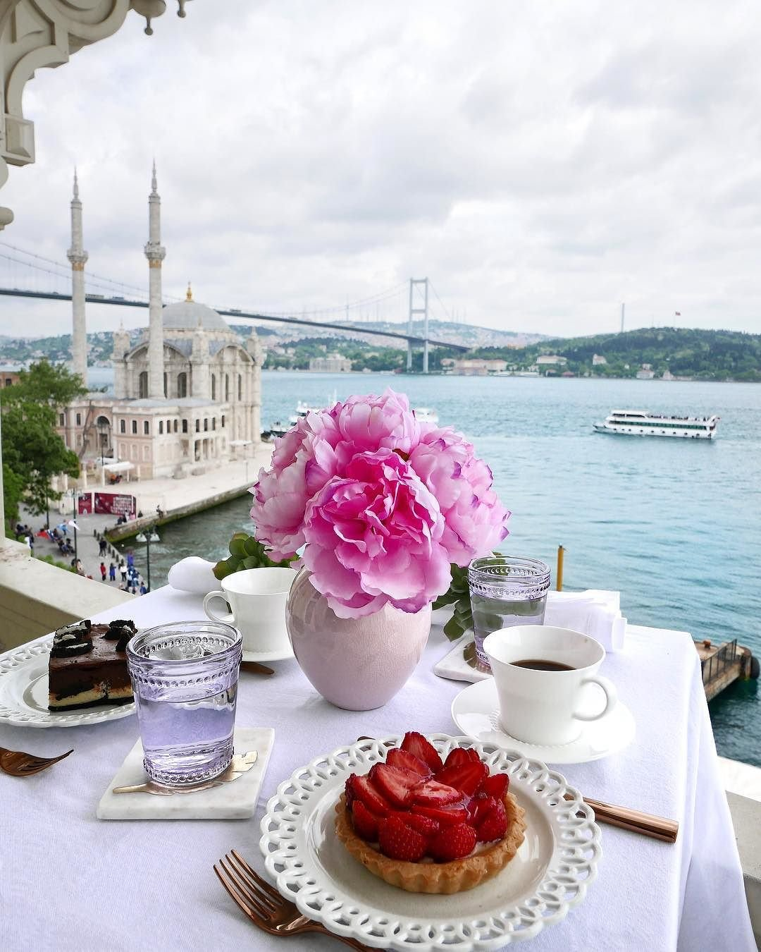 Cafe table overlooking water in Istanbul