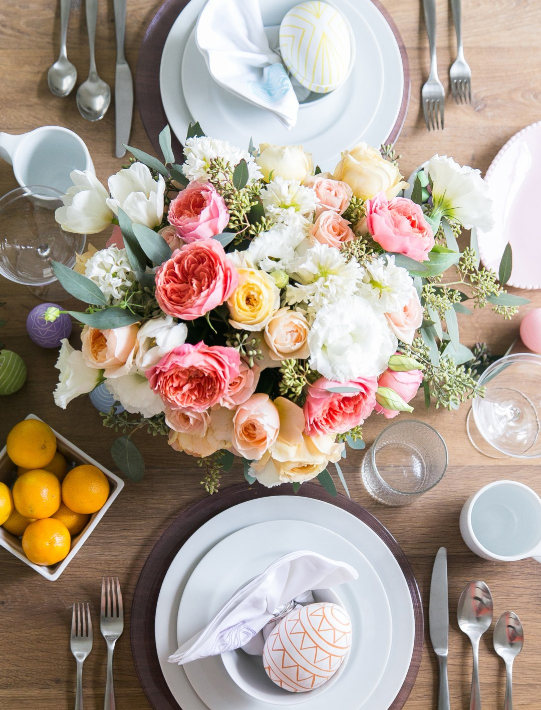 Floral centerpiece in an Easter tablescape