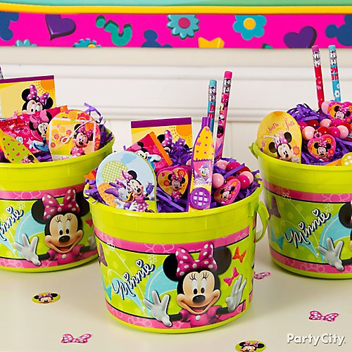 Curated Image With Minnie Mouse Paddle Ball Pink Crinkle Paper Shreds Crayons