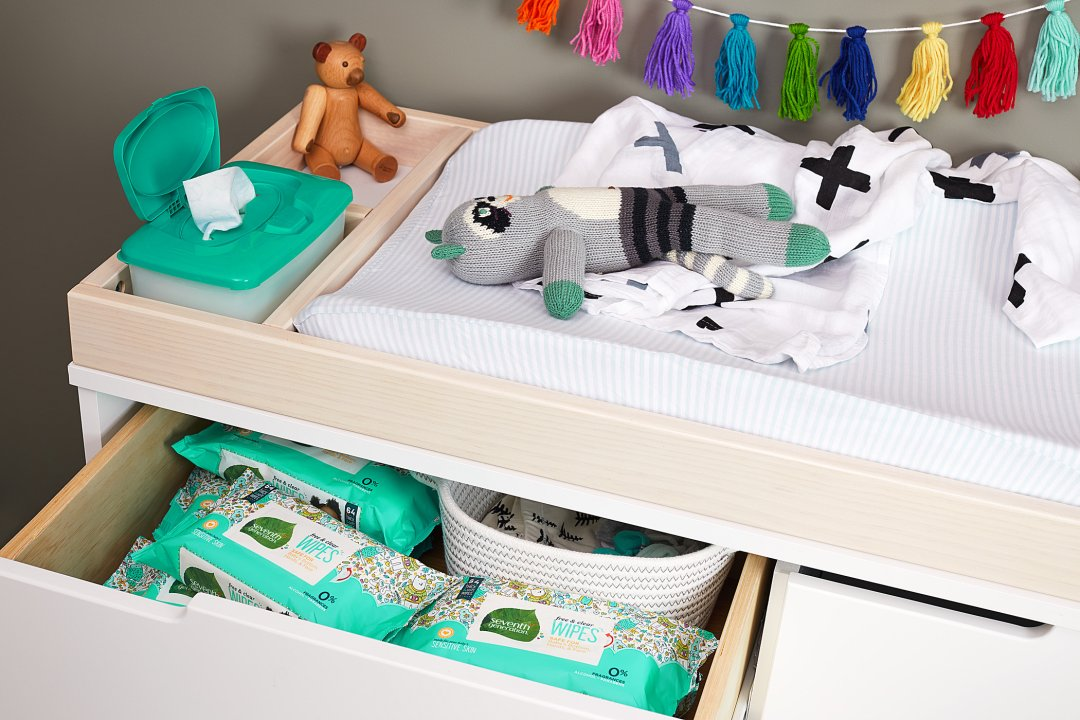baby diapers in nursery