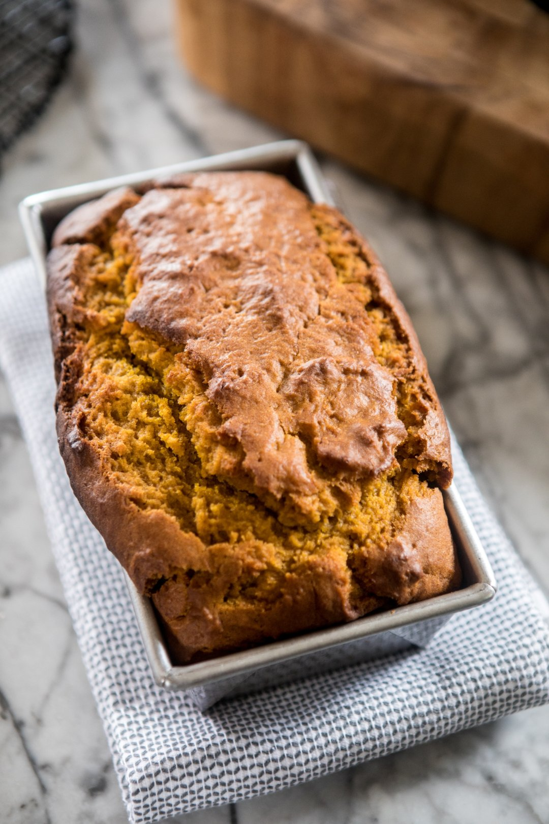 Pumpkin bread in baking tin