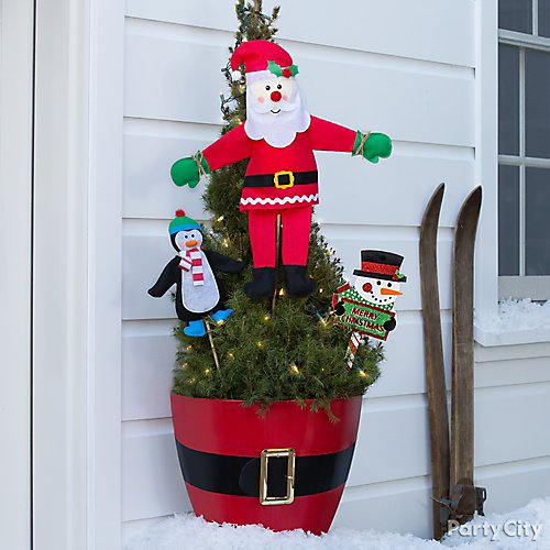 curated image with santa planter decorating kit santa belt 36in glitter snowman merry christmas - Christmas Tree Decorating Ensemble Kits
