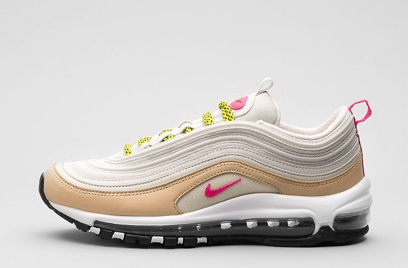 Nike Womens Air Max 97 Trainer - Light Bone / Deadly Pink