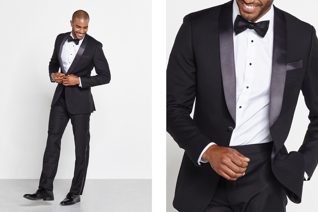 06b18ce0410 This tuxedo s rounded lapel isn t quite as traditional as the peak lapel