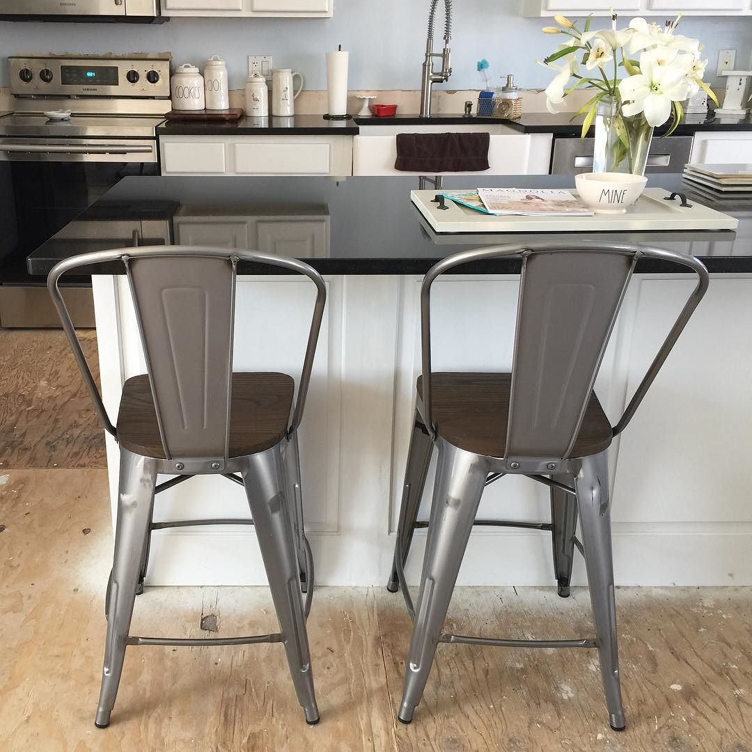 Carlisle 29 Quot Barstool With Wood Seat Natural Metal Set