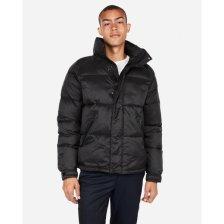 Shop Black Mock Neck Puffer Coat Black Men's M Tall and more