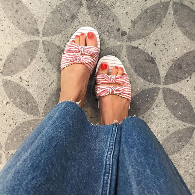 d32a4ce02 ... Florence Striped Bow Slide Sandals - Who What Wear! see all your loves  · instagram photo by Box Store Style. instagram photo by P E C H I N C H A