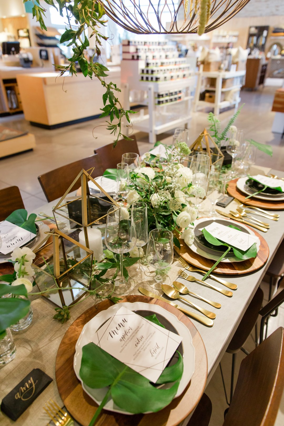 Bird's eye view of green tablescape