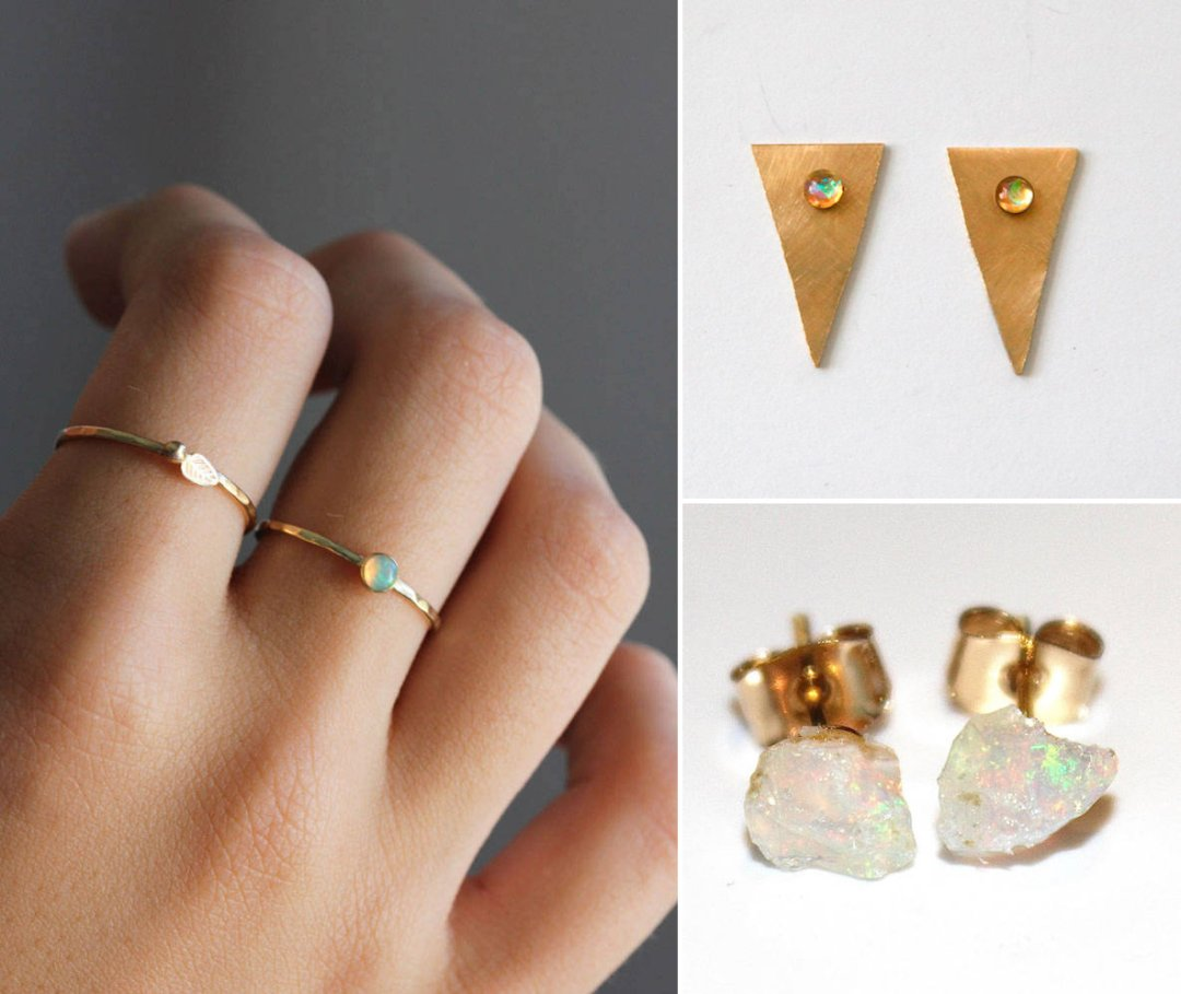 Shop Opal stacking ring from Belinda Saville, $103.50, Opal taper earrings from Bly Design, $48, Raw opal stud earrings from Fizz Candy, $76 and more