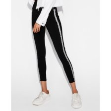 Shop High Waisted Embellished Side Stripe Leggings Black Women's S and more