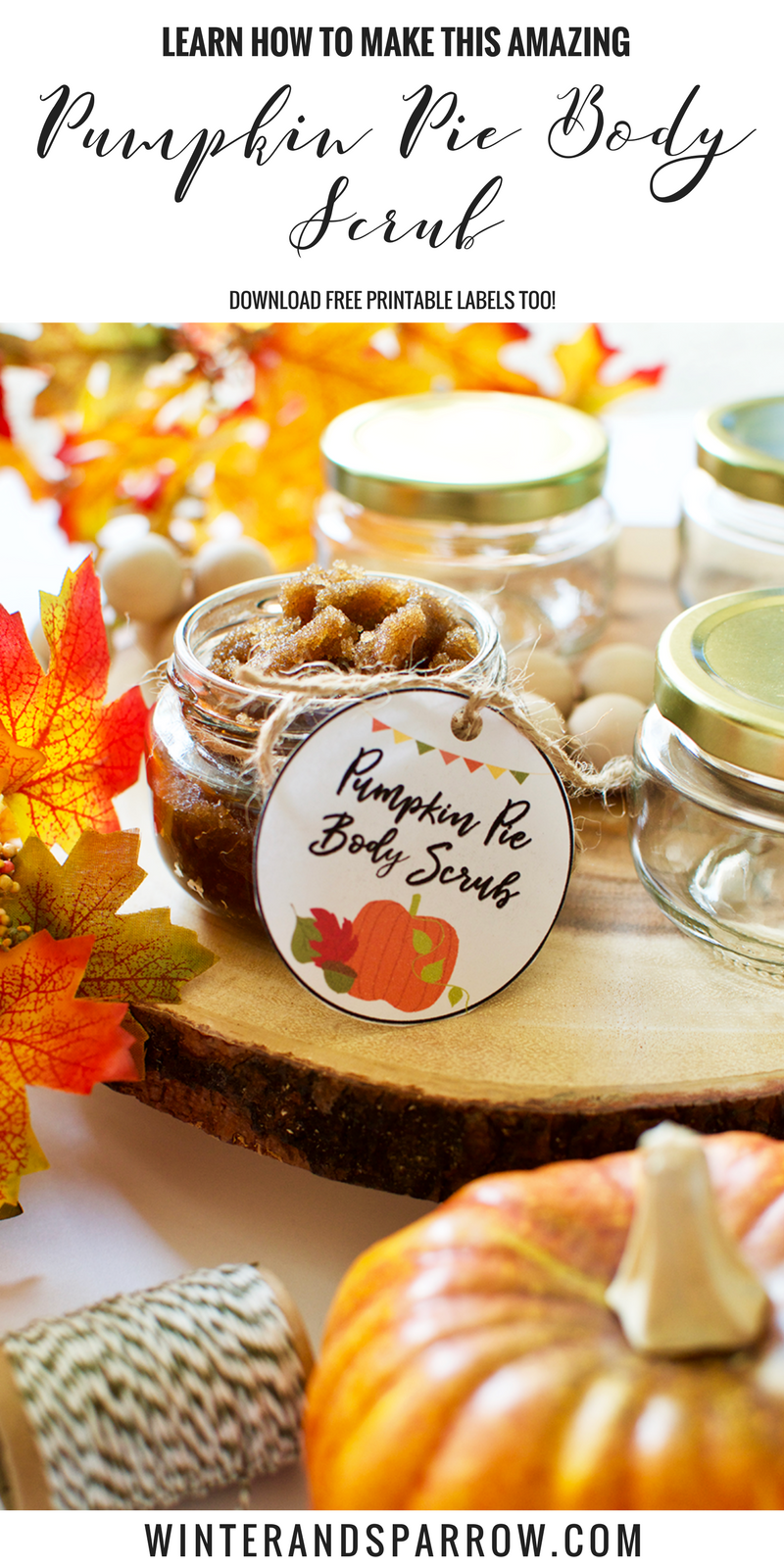 DIY: Amazing Pumpkin Pie Body Scrub + Free Printable Labels #SKSHarvest #SeasonalSolutions #ad winterandsparrow.com
