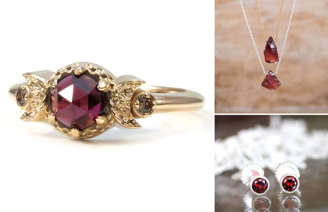 Shop Rose cut garnet ring from Swank Metalsmithing, $465, Raw garnet necklace from Abiza Jewelry, $34, Garnet studs from Louisa Gallery, $58.50 and more