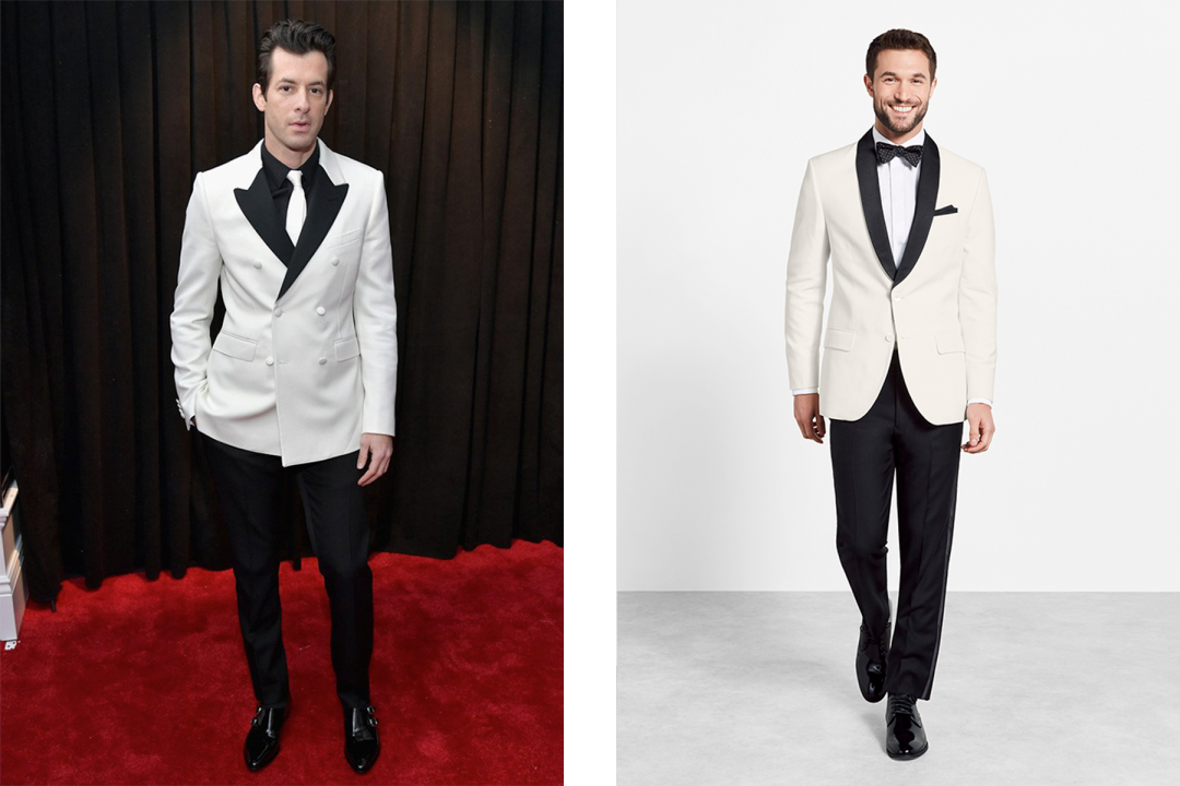 b90ab83c1a Mark Ronson s tux noir pairs a black dress shirt with a contrast shawl  dinner jacket. The necktie is a little bit rock