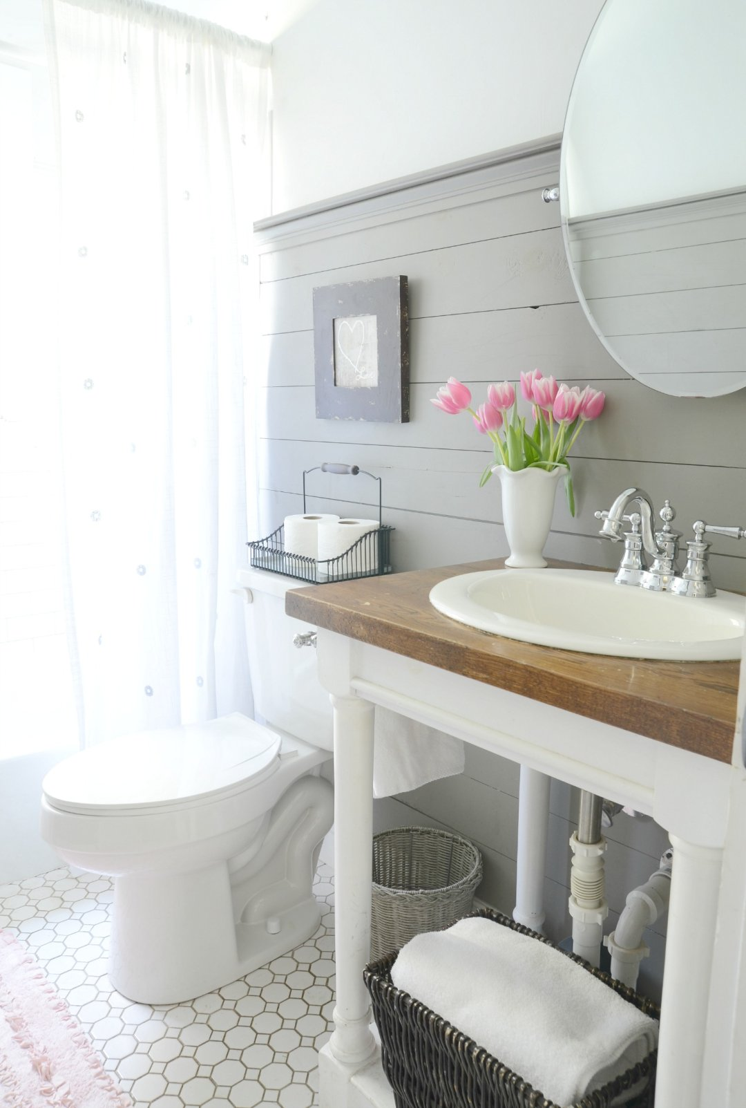 Farmhouse bathroom refresh adoption update beneath my for Updated bathrooms 2016