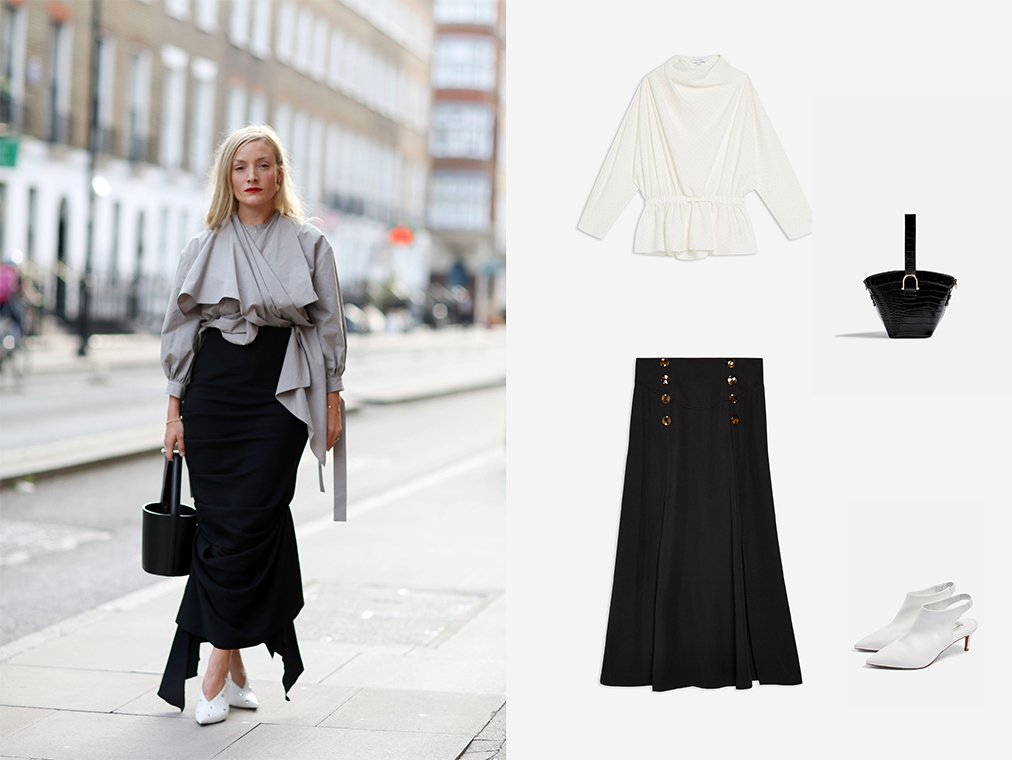 Shop Womens Stud Drape Blouse - Ivory, Split Button Midi Skirt - Clothing, Womens Cuba Crocodile Cross Body Bag - Black, Womens Jade Pointed Mid Shoes - White and more