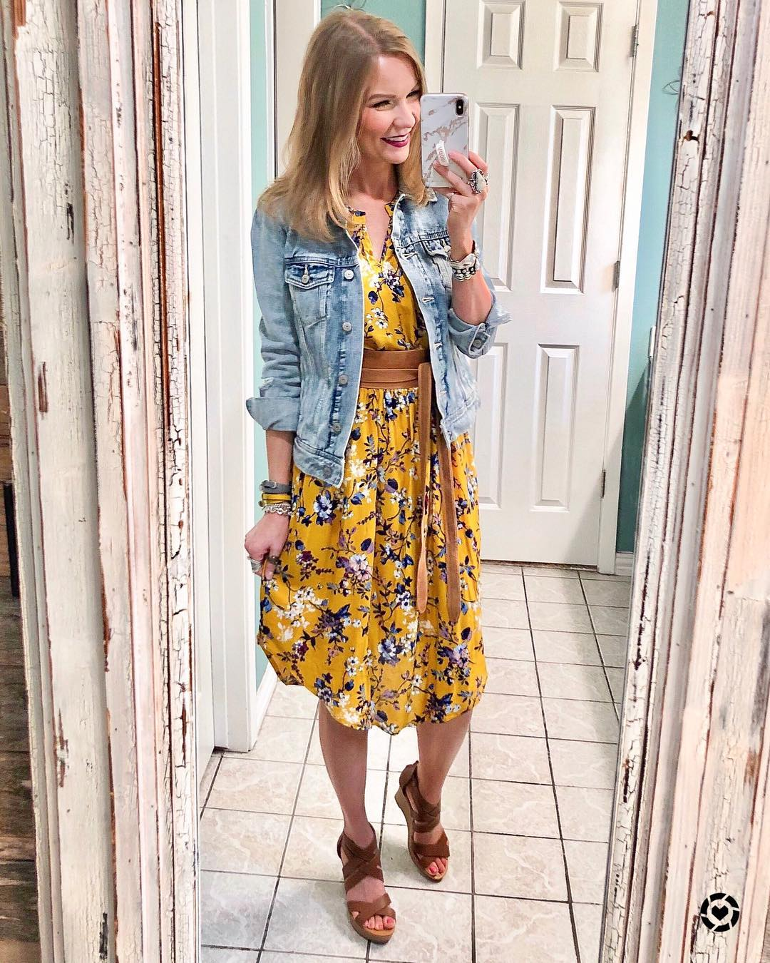 8b2d4a6648d ... Women s Floral Print Sleeveless V-Neck Cinched Waist Midi Dress - Xhilaration  Mustard Yellow! see all your loves · instagram photo by  lipglossleslie