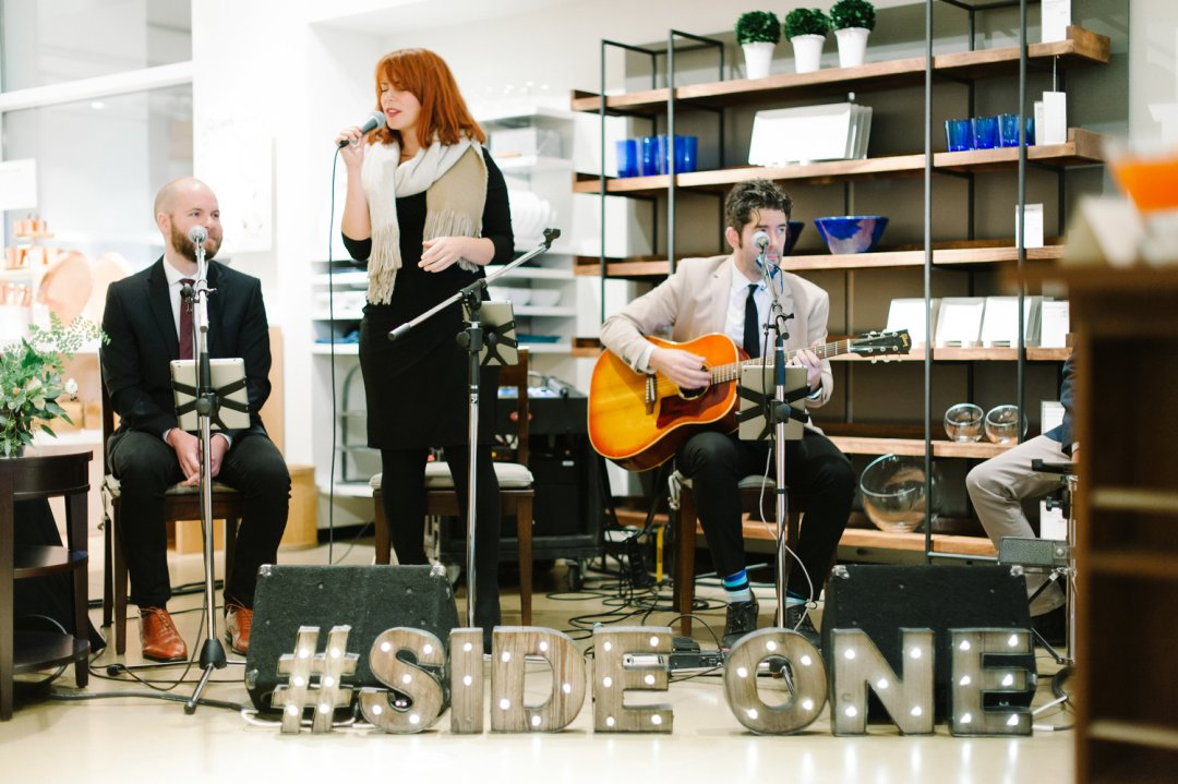 Band performs at private registry event at Crate and Barrel