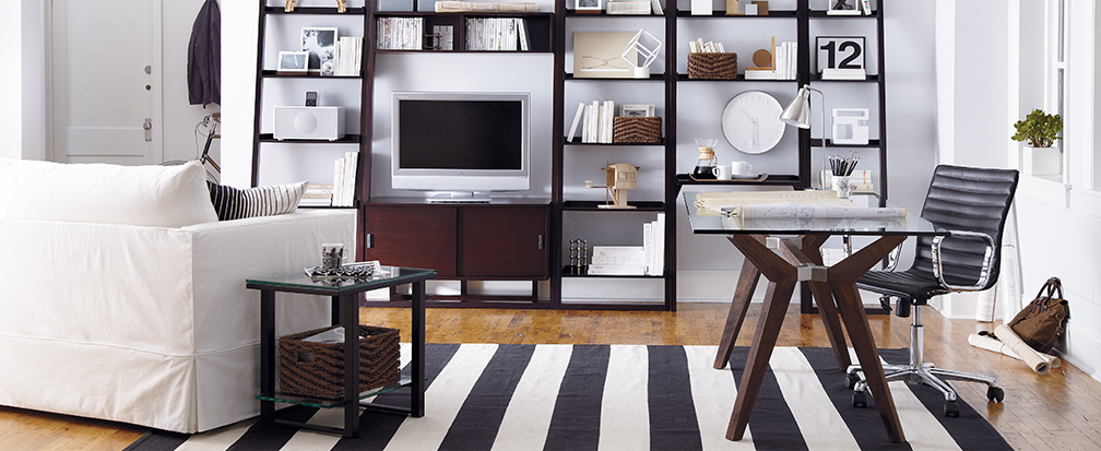 crate and barrel office furniture. Shop Sawyer Mocha Media Stand With Shelf And Two 24.5\u0027\u0027 Bookcases - Crate Barrel, Strut Bourbon 70\ Barrel Office Furniture
