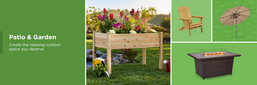 Patio furniture, Gardening tools, Chairs, Tables, Umbrellas