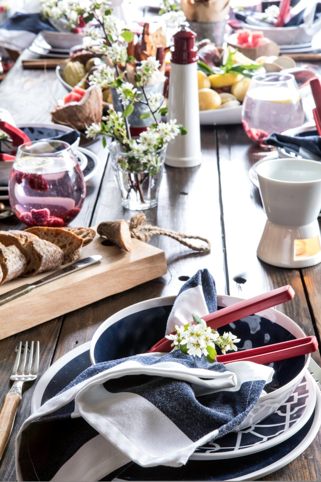 Full glimpse of table with one placesetting at the head of the table