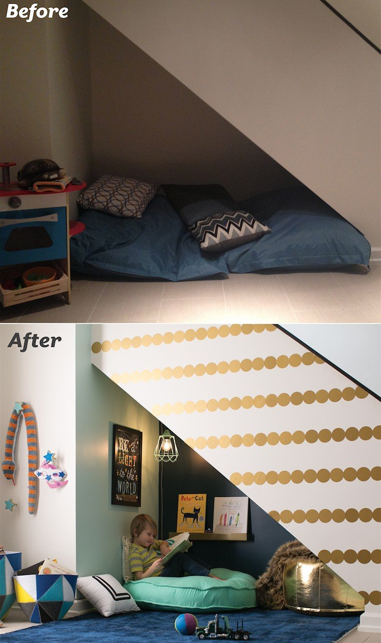 A before and after photo shows a transformation of a space into a reading nook.
