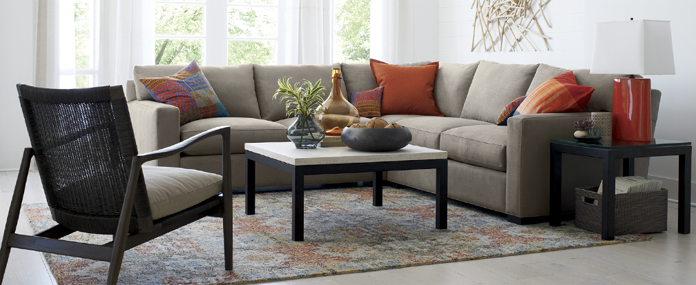 Tan sectional sofa with Parsons coffee tables