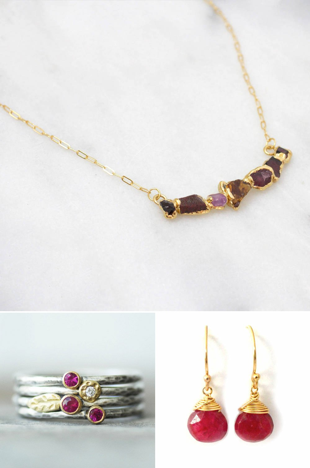 Shop Raw ruby necklace from Dani Barbe, $138, Ruby earrings from Aquarian Thoughts, $24, Ruby and diamond stacking ring set from Lilian Ginebra, $396 and more