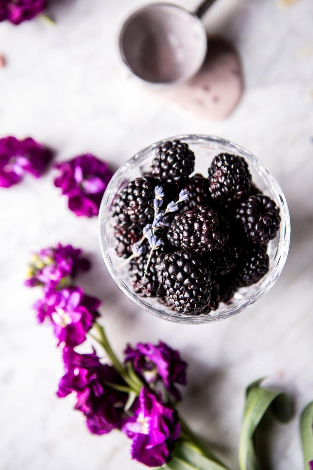 Blackberries in glass